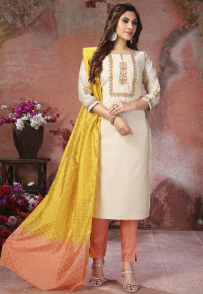 Embroidered Chanderi Silk Jacquard Pakistani Suit in Off White