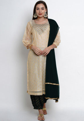 Embroidered Chanderi Silk Jacquard Punjabi Suit in Beige