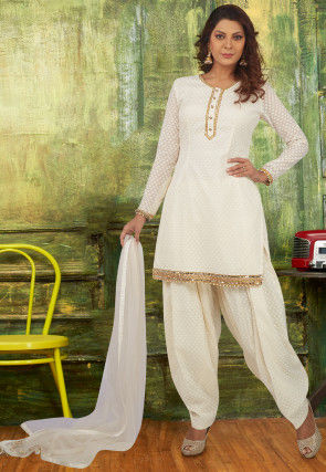 Embroidered Chanderi Silk Jacquard Punjabi Suit in Off White
