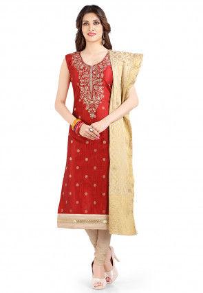Embroidered Chanderi Silk Jacquard Straight Suit in Maroon
