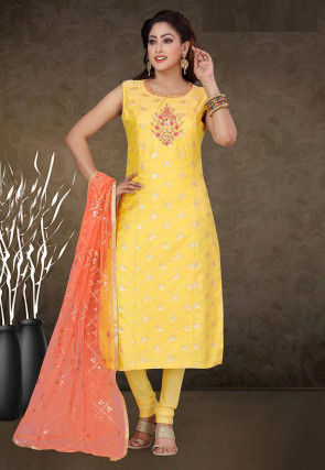 Embroidered Chanderi Silk Jacquard Straight Suit in Yellow