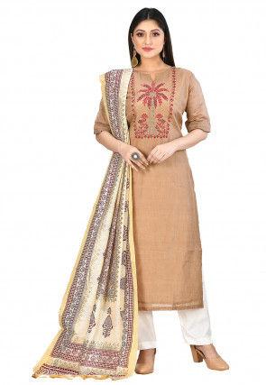 Embroidered Chanderi Silk Kurta in Light Brown