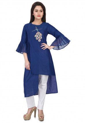 Embroidered Chanderi Silk Kurta Set in Blue