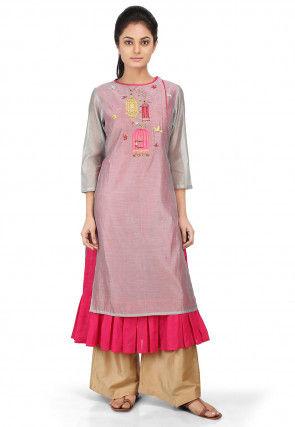 Embroidered Chanderi Silk Kurta Set in Grey and Fuchsia