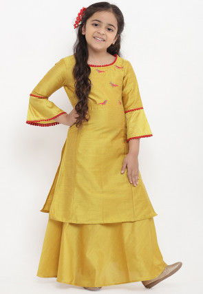 Embroidered Chanderi Silk Kurta Set in Mustard