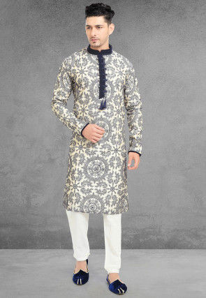 Embroidered Chanderi Silk Kurta Set in Off White