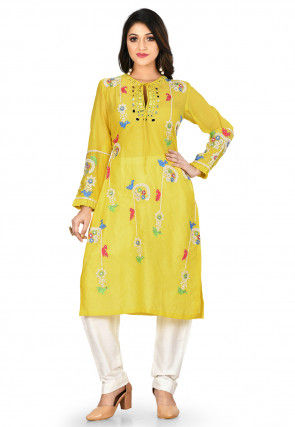 Embroidered Chanderi Silk Kurta with Pant in Mustard