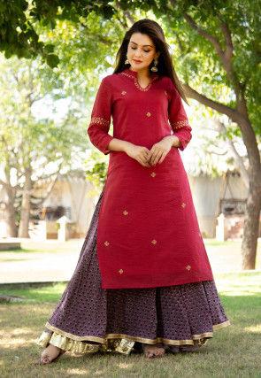 Embroidered Chanderi Silk Kurta with Skirt in Maroon