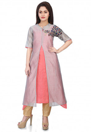 Embroidered Chanderi Silk Layered Kurta Set in Grey and Peach