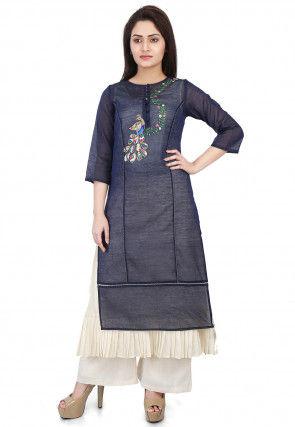 Embroidered Chanderi Silk Layered Kurta Set in Navy Blue