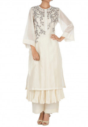 Embroidered Chanderi Silk Layered Kurta Set in Off White