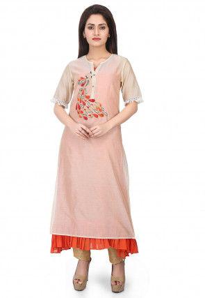 Embroidered Chanderi Silk Layered Kurta Set in off white