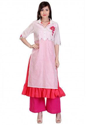 Embroidered Chanderi Silk Layered Kurta Set in White and Pink