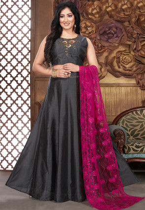 Embroidered Chanderi Silk Lehenga in Grey