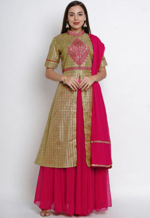 Embroidered Chanderi Silk Lehenga in Olive Green
