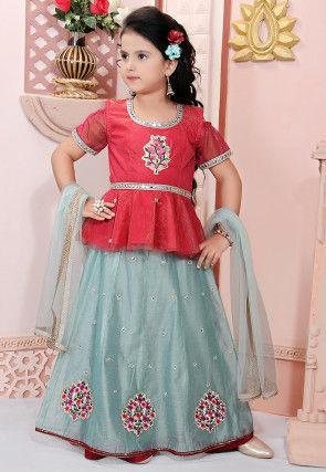 Embroidered Chanderi Silk Lehenga in Pastel Blue