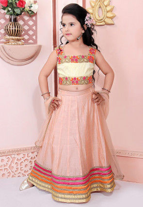 Embroidered Chanderi Silk Lehenga in Peach