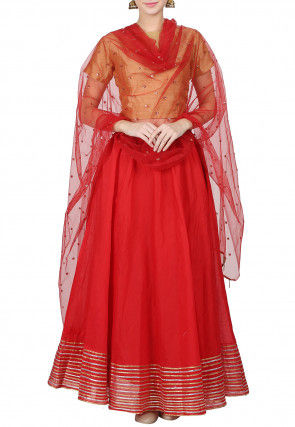 Embroidered Chanderi Silk Lehenga in Red