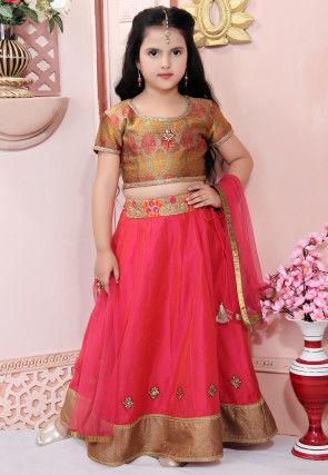 Embroidered Chanderi Silk Lehenga in Red