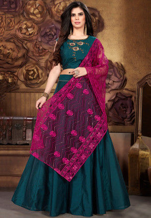 Embroidered Chanderi Silk Lehenga in Teal Blue