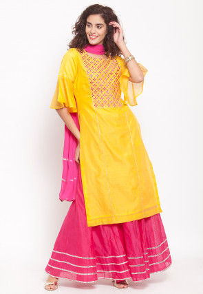 Embroidered Chanderi Silk Lehenga in Yellow