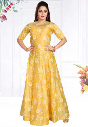 Embroidered Chanderi Silk Long Flared Kurta in Lemon Yellow