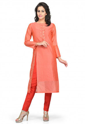 Embroidered Chanderi Silk Long Kurta Set in Peach