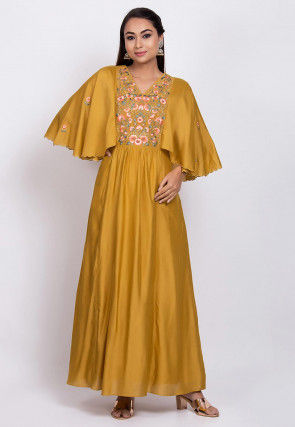 Embroidered Chanderi Silk Maxi Dress in Mustard
