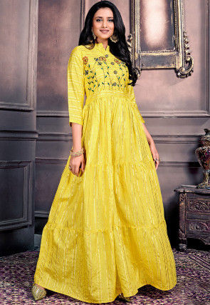 Embroidered Chanderi Silk Maxi Dress in Yellow