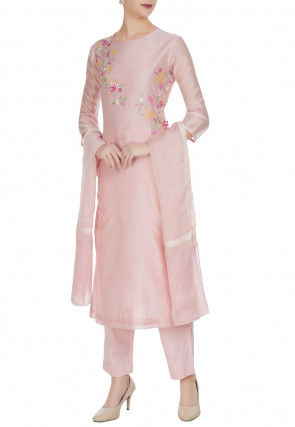 Embroidered Chanderi Silk Pakistani Suit in Baby Pink