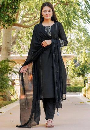 Embroidered Chanderi Silk Pakistani Suit in Black