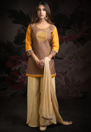 Embroidered Chanderi Silk Pakistani Suit in Brown and Orange