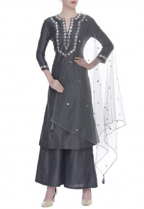 Embroidered Chanderi Silk Pakistani Suit in Dark Grey