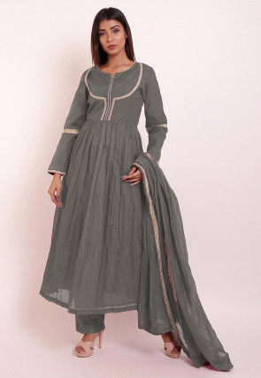 Embroidered Chanderi Silk Pakistani Suit in Grey