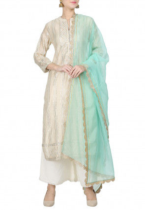 Embroidered Chanderi Silk Pakistani Suit in Light Beige