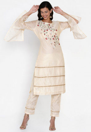 Embroidered Chanderi Silk Pakistani Suit in Light Beige