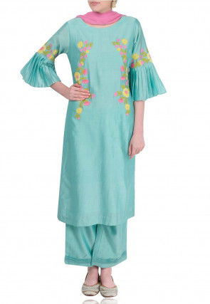 Embroidered Chanderi Silk Pakistani Suit in Light Blue