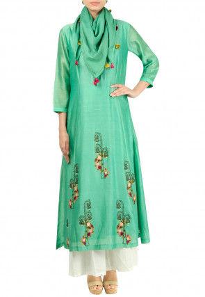 Embroidered Chanderi Silk Pakistani Suit in Light Teal Green
