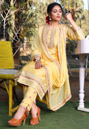 Embroidered Chanderi Silk Pakistani Suit in Light Yellow