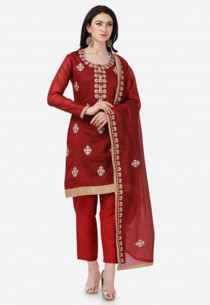 Embroidered Chanderi Silk Pakistani Suit in Maroon