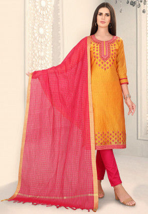 Embroidered Chanderi Silk Pakistani Suit in Mustard