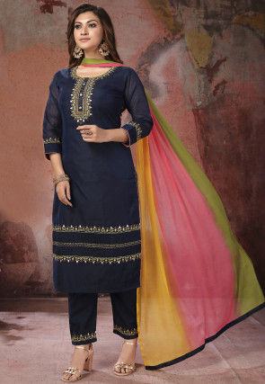 Embroidered Chanderi Silk Pakistani Suit in Navy Blue