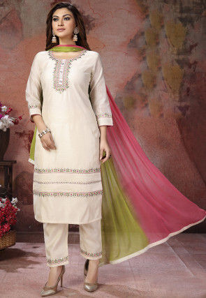 Embroidered Chanderi Silk Pakistani Suit in Off White