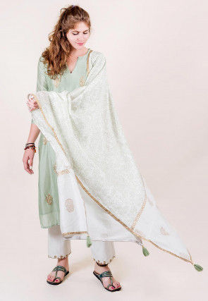 Embroidered Chanderi Silk Pakistani Suit in Pastel Green