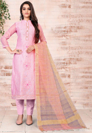 Embroidered Chanderi Silk Pakistani Suit in Pink
