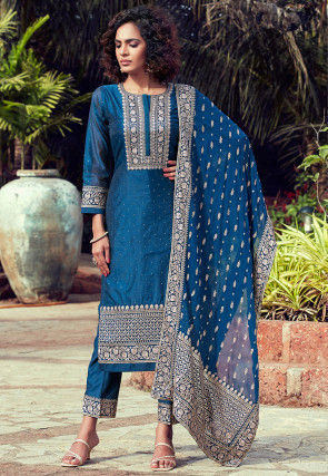 Embroidered Chanderi Silk Pakistani Suit in Teal Blue