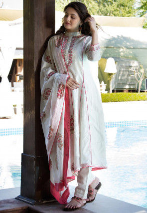 Embroidered Chanderi Silk Pakistani Suit in White