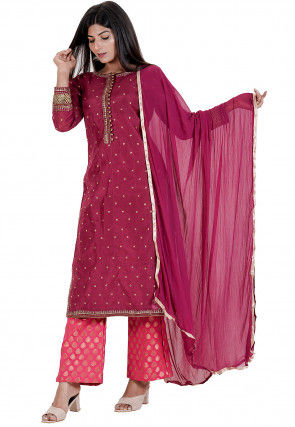 Embroidered Chanderi Silk Pakistani Suit in Wine