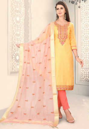 Embroidered Chanderi Silk Pakistani Suit in Yellow