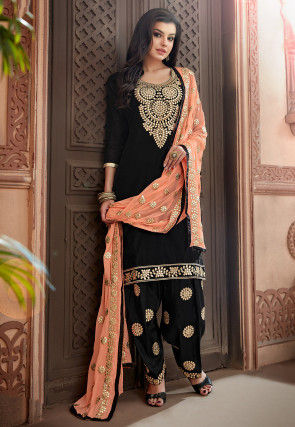 Embroidered Chanderi Silk Punjabi Suit in Black